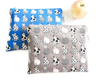 Small Wet Bag Pouch / Makeup Bag with Waterproof Lining - Cats (Gray or Blue)