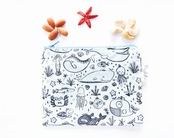Zippered Snack Bag with Food-Safe Nylon Lining - Under the Sea