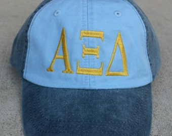 Alpha Xi Delta two toned baseball cap with embroidered greek letters