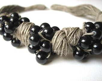 loop of black - linen necklace