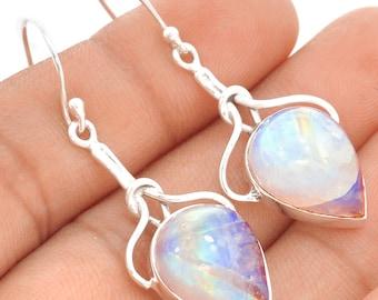 Convex Moonstone Teardrops in Solid Sterling. Dangle Silver Earrings.