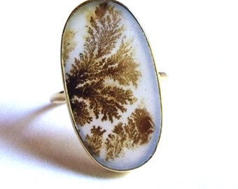 COA:NM Scenic Picture Agate 24 Kt Gold Plated Sterling Ring. 9.5