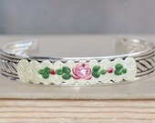 Vintage Unique Guilloche Enamel Cuff Bracelet,Silver Enamel Cuff,Hand Painted Rose Flora,Something Old,Guilloche Cloisonne,Gift,Bridal,Blush