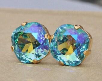 Turquoise Glacier Blue Swarovski Stud Earrings,Cushion Post,Light Aquamarine,Pale Pastel Blue,Large Stud,Something Blue,Bridesmaids,Weddings