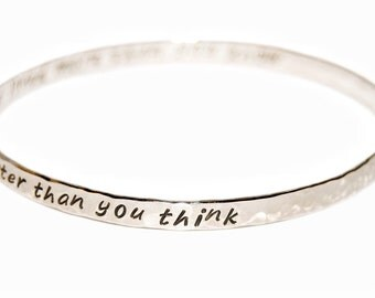 Delicate sterling silver bangle - two sided or inside message, personalized bangle, secret message bangle, silver message jewelry
