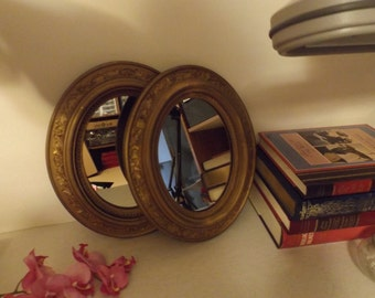 Set 2 Antique Mirrors ,Make up mirror, Wooden Frame  Vanity Mirror, Wall Hanging Mirror, ready to hang.Gold tone . Oval mirror.Set Gift