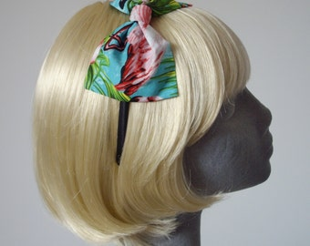Turquoise Headband, Turquoise Bow Headband, Turquoise Pink Flamingo Print Bow Headband, Turquoise Hair Bow, Flamingo Hair Bow