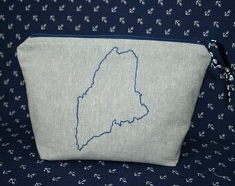 Maine Embroidered Zipper Pouch, ME Bag