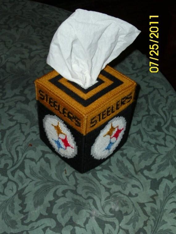steelers plastic canvas tissue box cover