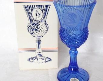Fostoria Glass for Avon Martha Washington Cobalt Blue Water Goblet