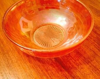 Gorgeous Vintage Peach Carnival Glass Lustreware Sherbet Finger Bowl 1950s