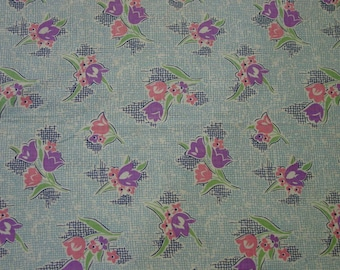 """Vintage Fabric, Pretty Cotton Print, 36"""" Wide x 35"""" Quilting, Crafts"""
