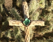 Cholla Wood Cross - Metal Flower - Sacred works of the High Desert - Folk Art / Cathy DeLeRee
