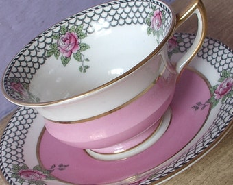 Antique Teacup and Saucer, Aynsley china pink tea cup, art deco English tea cup, Pink rose teacup Pink and Black tea cup Hand painted teacup