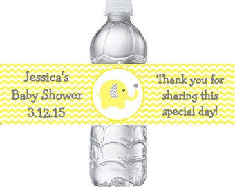 Printed 20 Personalized Yellow Elephant Baby Shower Water Bottle Labels - Yellow Chevron Elephant  Stickers for Party Favors