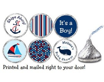 PRINTED 108 Baby Shower Nautical Stickers for Candy Kiss® - Nautical Candy labels with Ship, Anchor, and Whale