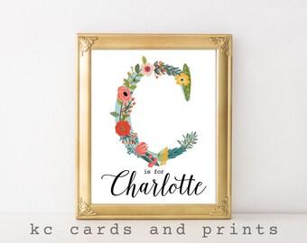 Charlotte Nursery Print - C Monogram Nursery Printable - Custom Name Art - Baby Name - Nursery Decor - Printable Nursery Art