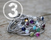 THREE Birthstone Stacking Rings. Mom Jewelry, Mommy Rings, Stackers, Gemstones and Sterling Silver. Made To Order Custom Mommy Rings.