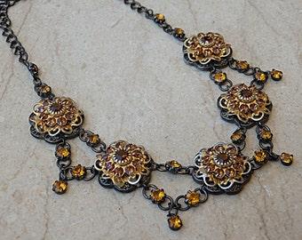 Brown Estate Necklace, Floral Necklace, Victorian Style Bib Necklace, Swarovski Choker Necklace, Black Silver Swarovski Estate Jewelry Gift