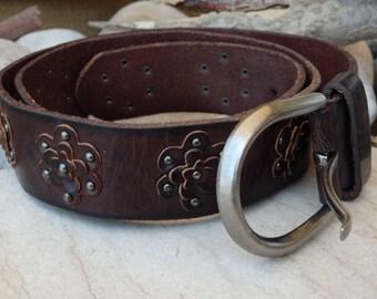 Brown floral leather belt, Brown leather belt, Buckled leather belt, Rivets flower belt, Hippie leather belt, Genuine leather buckle belt