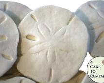 6 Edible gumpaste sand dollars for cake decorating, edible sand dollars, sugar seashells, edible seashells, ocean cakes, beach weddings
