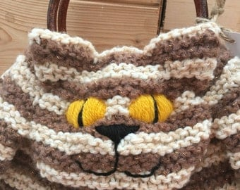 Knitted Cat Hand Bag in glittery brown and beige stripes