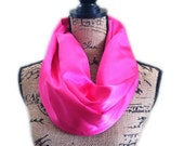 Hot pink scarf with zippered pocket  one loop great for travel
