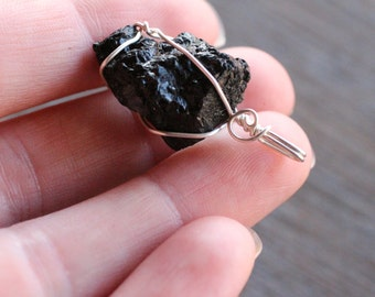 Black Tourmaline Silver Wire Wrapped Pendant  #6297