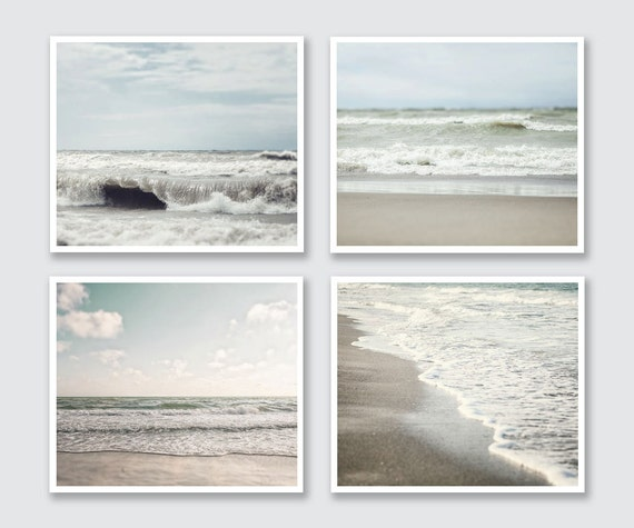 Beach Decor Print or Canvas Wrap Set of 4 Landscape Photographs, Ocean Decor, Beach Pictures, Pale blue, tan, taupe, neutral beach art.