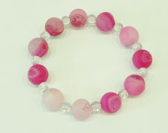 Pink agate with druzy and mystic quartz stretch gemstone bracelet