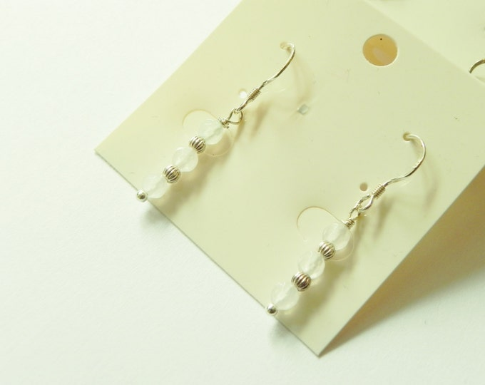 Sterling silver and white agate drop earrings. Choice of three lengths.
