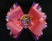 Paw Patrol inspired bow, Skye large 5 1/2 inch bow