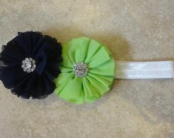 Seahawks inspired chiffon flower headband