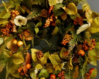 Fall Wreath , Autumn Wreath , Wreath , Rustic Wreath , Woodland Wreath , Fern Door Wreath , Wreath For The Door