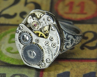 Women's Steampunk Ring - Vintage HELBROS Watch Movement w Single Gold Gear - Torch SOLDERED - Birthday, Anniversary Gift - Killer Style