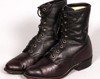 Two Tone Maroon & Black LAREDO Lacer Boots Women's Size 8 M
