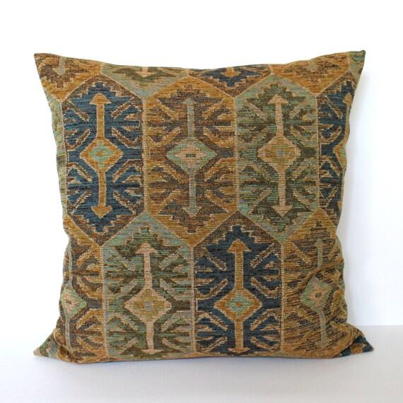 Throw Pillow Covers 26x26 : Throw Pillow Cover Blue Pillow Green Pillow Gold Pillow