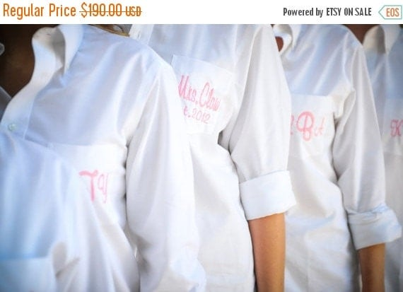 HOT SALE Oversized Men's Button Down Bride and Bridesmaids Shirt Monogrammed Set of 5