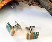 Recycled Skateboard Wood Cufflinks Aqua and Tangerine