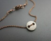 Silver Disc Bracelet Rose Gold Bracelet, Mixed Metal Bracelet