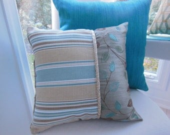Bohemian Chic Pillow - Aqua Pillow - Leaf Embroidery Pillow -  Beige Striped Pillow -  Blue Chenille Pillow - Autumn Home Decor Trend