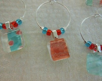 Party Wine Charms - Teal Aqua Glass Charms - Coral Orange Wine Charms - Set of Six - Wine Charms Made by Pillowscape Designs - Hostess Gift