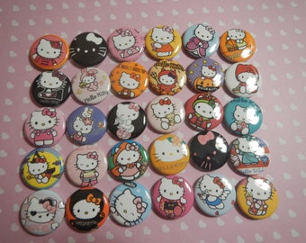 30 Miss Kitty Inspired Craft Flat Back Embellishment Buttons