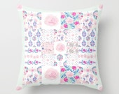 Indoor Throw Pillow Cover, A Very Shabby Chic Patchwork pillow cover