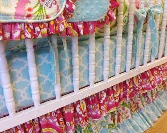 SALE--VALENTINES SALE---- Made to Order--- Kumari Garden Crib Bedding- 4 pc--