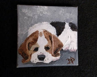 Miniature Beagle Dog Portrait - Small Canvas Art - Magnet