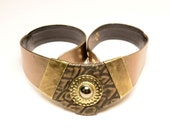 vintage 80s gold leather belt Nina Arjani cinch belt leatherock metallic 1980 wide belt superhero bedouin alligator sun boho