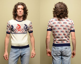 vintage 60s 70s novelty sweater bike cyclist bicycle short sleeve sweater Campus Expressions medium M 1960 1970 bike jumper