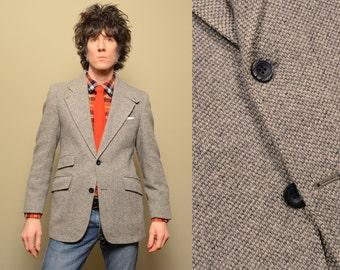 mens vintage sport jacket 70s tweed sport coat gray tweed sport jacket Carlins 1970 ticket pocket 38 39 38S 39S short slim fit