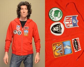 vintage 80s hooded sweatshirt Super Bowl XV 15 1981 Jets Raiders NFL patch MoorMan's zip up hoodie Swingster medium M